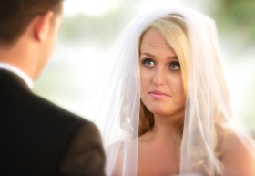 A Beautiful Bride Tears During Ceremony