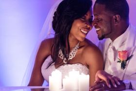 Colorful Reception Photo Wedding Couple