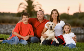 Family Portrait with Pet Dog