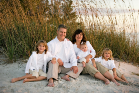 Sunset Family Beach Photos with Sea Oats